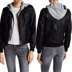 BLANKNYC Faux Leather Jacket with Hoodie